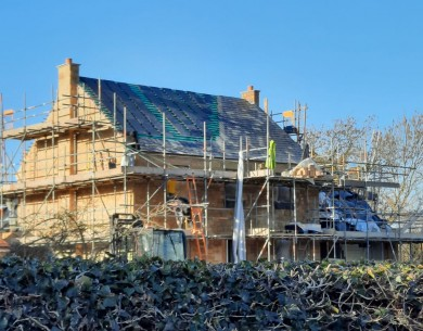 James' timber frame self-build in construction