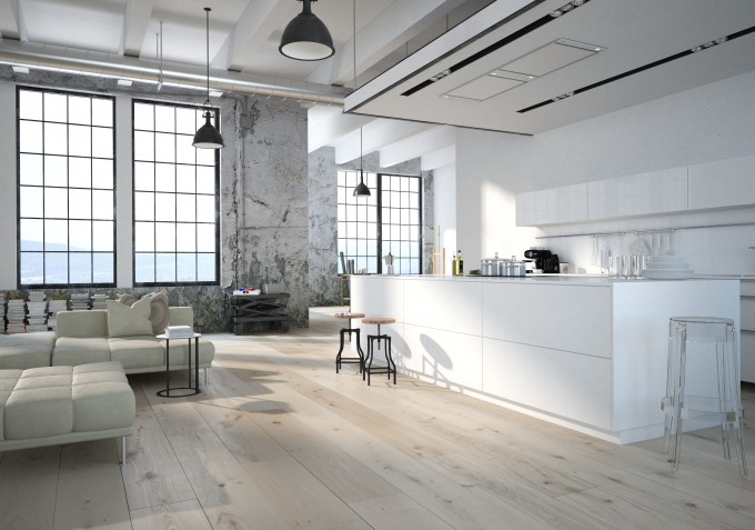 Modern kitchen with light streaming in
