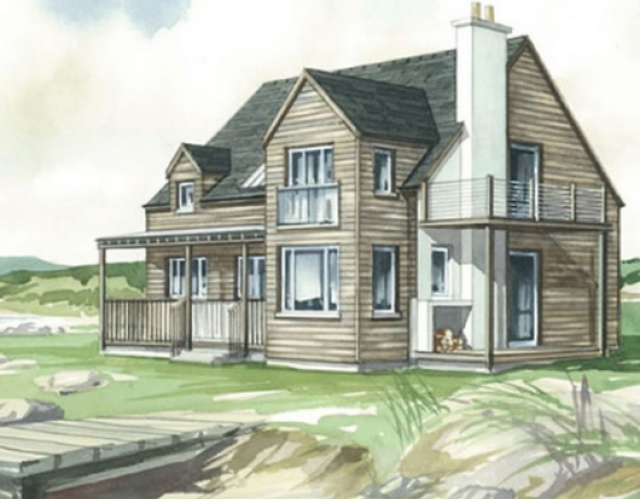 Sketch of timber frame home